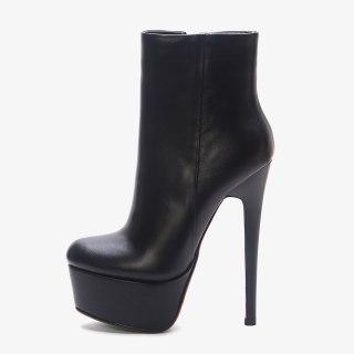 Arden Furtado 2021 Winnter Fashion Women's Shoes Mature Sexy Zipper Platform Elegant Genuine leather Stilettos Heels ankle Boots