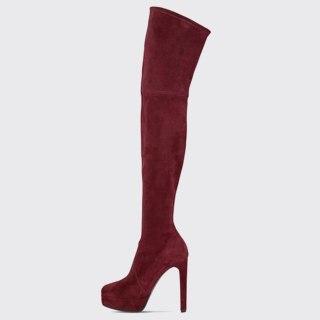 Arden Furtado 2021 Winnter Fashion Women's Shoes Mature sexy Zipper Platform  Over The Knee High Boots Elegant thigh high boots