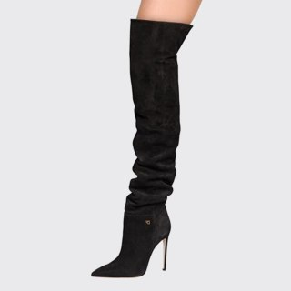 Arden Furtado 2021 Winnter Fashion Women's Shoes Mature sexy Over The Knee Boots Elegant pleated thigh high boots 42 43