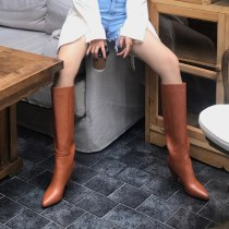 Arden Furtado 2021 Fashion Winter Cone Heels Pointed Toe Pure Color Brown Women's Knee High Boots big size 40