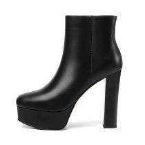 Arden Furtado 2021 Winnter Fashion Women's Shoes Mature Sexy Zipper Platform Elegant Genuine leather Chunky heels ankle Boots