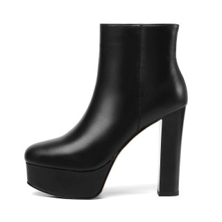 Arden Furtado 2021 Winnter Fashion Women's Shoes Mature Sexy Zipper Platform Elegant Genuine leather Chunky heels ankle Boots