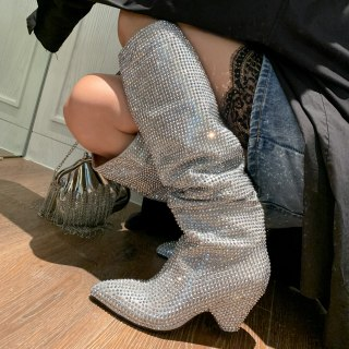 Arden Furtado 2021 Fashion Winter Cone Heels Pointed Toe silver Women's Knee High Boots silver Pleated crystal boots big size 40