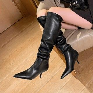 Arden Furtado 2021 Winnter Fashion Women's Shoes Pure Color Mature sexy beige Knee High Boots Elegant