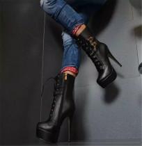 Arden Furtado  Fashion Autumn Winter stilettos Heels Round Toe Cross tied Waterproof Women's Shoes Sexy Buckle Black Big Size Ankle Boots 46 47