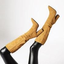 Arden Furtado 2021 Winnter Fashion Women's Shoes Mature Sexy Yellow Slip on concise Elegant  Knee High Boots Chunky heels  35-43