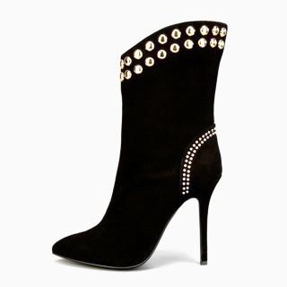 Arden Furtado Fashion Winter Pointed Toe Women's Shoes Sexy Elegant Stilettos Heels Diamond Short Boots 46 47 New