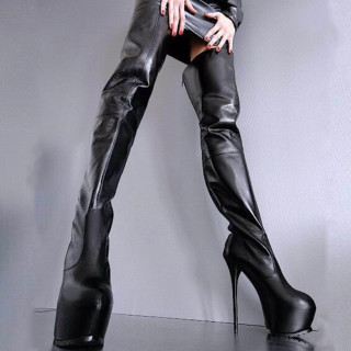 Arden Furtado Winter Pointed Toe Stilettos Heels After the zipper Fashion Women's Shoes Sexy Personality Ladies Waterproof Taiwan Over The Knee Boots 46 47