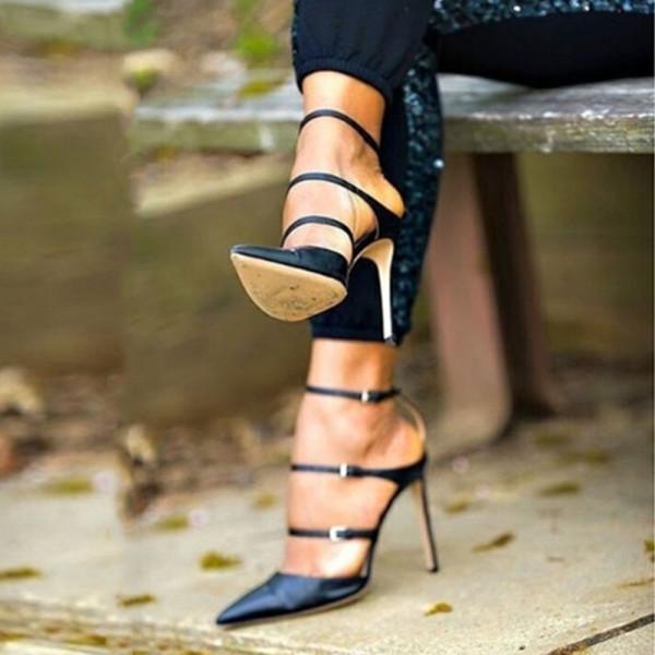 Copy Arden Furtado Summer Fashion Stilettos Heels Baotou Women's Shoes Sexy Black A Word Buckles Heels Sandals 46 47 news