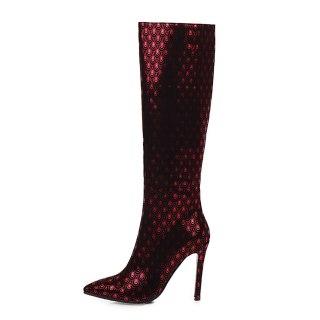 Arden Furtado 2021 Fashion Winter Pointed Toe Women's Stilettos Heels Zipper Stilettos Heels Knee High Boots big size 47 48