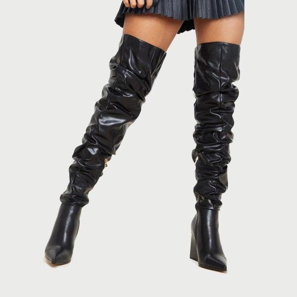 Arden Furtado 2020 autumn Fashion Women's Shoes Elegant Women's zipper sexy new chunky heels   over the Knee Boots big size 4243