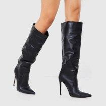 Arden Furtado 2021 Winnter Fashion Women's Shoes Pointed Toe Women's Stilettos Hees Serpentine Sexy New  Knee High Boots 43