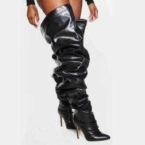 Arden Furtado 2021Winter Fashion Women's Shoes Elegant Women's Zipper Pleated Sexy Stilettos Heels Over The Knee Boots New 43