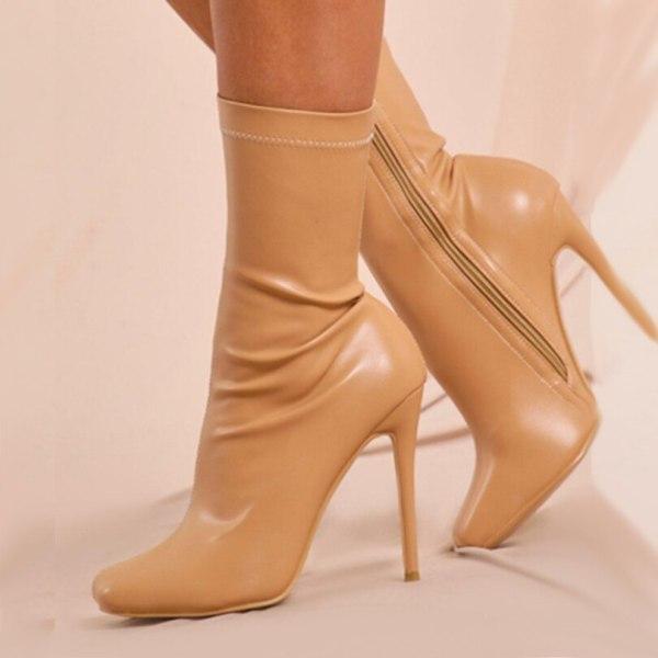 Arden Furtado 2021 Winnter Fashion Women's Shoes Elegant Women's Zipper Apricot Stilettos Hees Sexy New  Anckle Boots