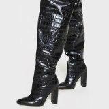 Arden Furtado 2021Winter Fashion Women's Shoes Elegant Women's Zipper Beige Sexy Chunky Heels Over The Knee Boots Big size 42 43