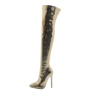 Arden Furtado 2021Winter Fashion Women's Shoes Elegant Women's Zipper Gold  Stilettos Heels Over The Knee Boots New Big size 48