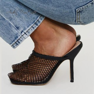 Arden Furtado Summer Fashion 2021 Women's ShoesWire side  Square Head Elegant Nude Slippers White Mules Stilettos Heels size 43