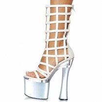 Arden Furtado 2021 summer Fashion Women's Shoes Waterproof Silver Gladiator Cool boots Peep Toe Stilettos Heels Back zipper