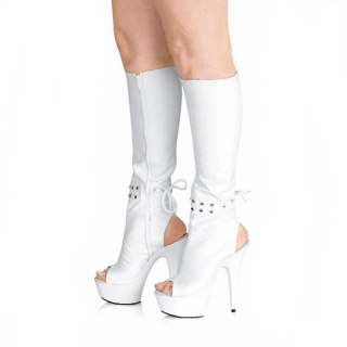 Arden Furtado 2021 summer Fashion Women's Shoes Waterproof Pure color White Peep Toe Stilettos Heels Zipper  Knee High Boots