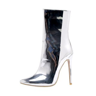 Arden Furtado 2021 Fashion Winter Pointed Toe Women's Stilettos Heels sexy Zipper  ankle boots Stilettos Heels big size 46 47 48