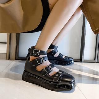 Arden Furtado 2021 summer Fashion Women's Shoes Pure Color White Round Toe platform Sexy Buckle Sandals  FlatsBack zipper