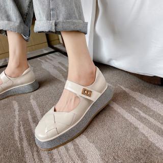 Arden Furtado 2021 summer Fashion Women's Shoes Pure Color White Round Toe platform Sexy Buckle Sandals  Flats shoes