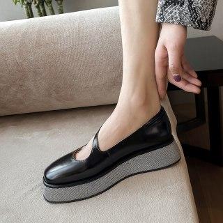 Arden Furtado 2021 summer Fashion Women's Shoes Pure Color Genuine leather Round Toe platform Sexy Buckle Sandals  Flats shoes