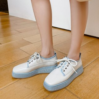 Arden Furtado Crystal Rhinest Spring autumn Fashion Women's Shoes Round Toe Genuine Leather Cross Lacing Flat Platform Shoes