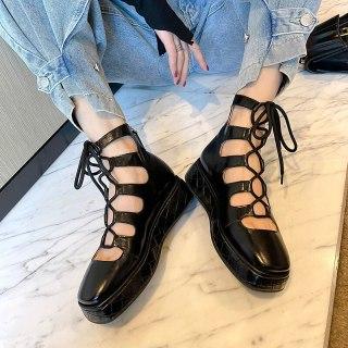 Arden Furtado 2021 summer Fashion Women's Shoes Pure Color Lace up  platform Sexy  Sandals  Flats Back zipper Cool boots