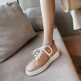 Arden Furtado Spring And autumn Fashion Women's Shoes  Round Toe Crystal Rhinestone Cross Lacing  Classics Leisure shoes new