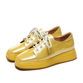 Arden Furtado Crystal Rhinest Spring autumn Fashion Women's Shoes Yellow Concise  Genuine Leather Cross Lacing  Platform Shoes