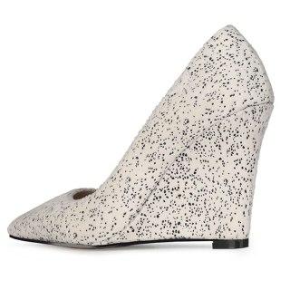 Arden Furtado 2021 Spring autumn Fashion Wedges Women's Shoes Elegant  Blue  Pointed Toe Pumps office lady Big size 43
