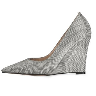 Arden Furtado 2021 Spring Fashion Wedges Women's Shoes Elegant Slip on Silver Pointed Toe Pumps New 45