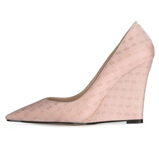 Arden Furtado 2021 Spring autumn Fashion Wedges high heels Women's Shoes Elegant Slip on Pink grey Pointed Toe Pumps office lady