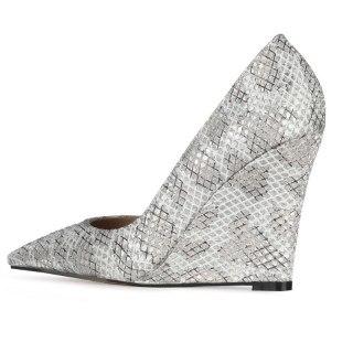 Arden Furtado 2021 Spring autumn Fashion high heels Wedges Women's Shoes Elegant  Pointed Toe slip on Snakeskin Pumps New 44 45