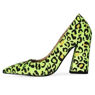 Arden Furtado 2021New Summer Fashion  Women's Shoes Green Elegant Pointed Toe Leopard Print Sexy Block heels Pumps Big size 47