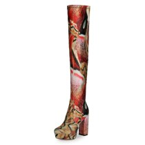 Arden Furtado Fashion Women's Shoes Winter Sexy Elegant Chunky Heels Round Toe Waterproof Over The Knee High Boots Big Size 47