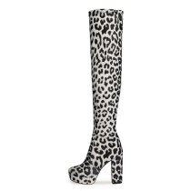 Arden Furtado Fashion Women's Shoes Winter Sexy Elegant Chunky Heels Round Toe Waterproof Leopard Print Over The Knee High Boots