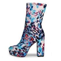 Arden Furtado Fashion Women's Shoes Winter Sexy Elegant Chunky Heels Round Toe Waterproof Short Boots Big Size 47