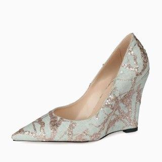 Arden Furtado 2021 Spring Fashion Light blue Sequins Wedges Women's Shoes Elegant Pointed Toe Pure color Pumps New 44 45