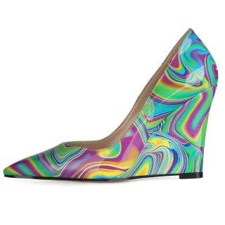 Arden Furtado 2021 Spring autumn Fashion Wedges high heels Women's Shoes Elegant  Leisure Pointed Toe slip on Pumps New Arrivel