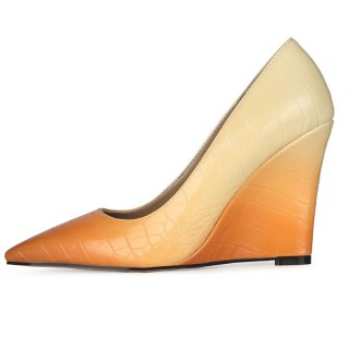 Arden Furtado 2021 Spring autumn Fashion Wedges Women's Shoes Elegant  Pointed Toe Mixed Colors Pumps office lady Big size 43