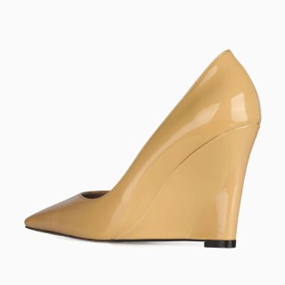 Arden Furtado 2021 Spring Fashion Yellow Blue Contracted Wedges Women's Shoes Elegant Pointed Toe Pure color Pumps New 44 45
