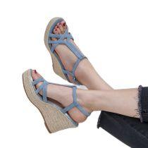 Arden Furtado 2021 Summer Fashion Women's Shoes Elegant Narrow Band Buckle Blue platform wedges high heels ankle strap sandals