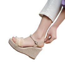 Arden Furtado 2021 Summer Fashion Women's Shoes Elegant Pearls Buckle strap platform wedges high heels falbala Bohemia sandals