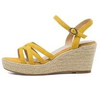 Arden Furtado 2021 Summer Fashion Women's Shoes Elegant Narrow Band Buckle Yellow Orange Waterproof platform wedges  sandals