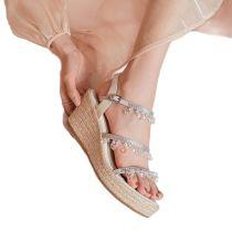 Arden Furtado Summer Fashion Women's Shoes Elegant Pearls Narrow Band Buckle strap platform wedges high heels Bohemia sandals