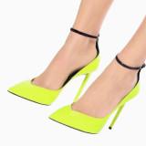 Arden Furtado 2021 New Fashion Pointed Toe Stilettos heels Women's shoes Sexy Elegant Buckle Yellow Pumps Big Size 47