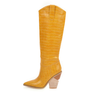Arden Furtado 2021 Winter Fashion Yellow Pointed Toe Women's Shoes Sleeve boots Sexy Chunky Heels Knee High Boots Elegant New 42 43