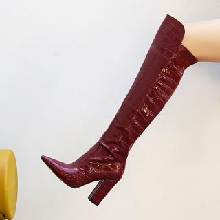 Arden Furtado Fashion Women's Shoes Winter Sexy Elegant Chunky Heels Pointed Toe Black Knee High Boots Big yards 48
